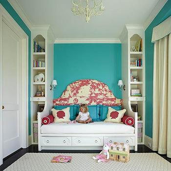 Daybed headboard contemporary girl 39 s room maria barros - Adorable dollhouse bookshelves kids to decorate the room ...