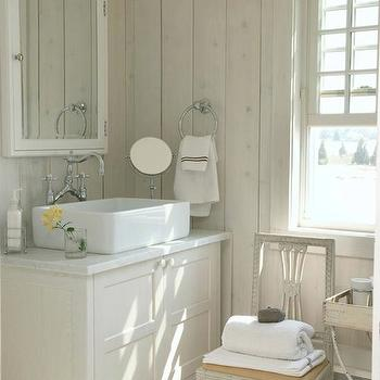 Heiberg Cummings Design - bathrooms - cottage bathroom, chic cottage bathroom, paneled bathroom, vertical wall panels, medicine cabinet, framed medicine cabinet, ivory medicine cabinet, ivory vanity, ivory bathroom vanity, vessel sink, bridge faucet, bridge bathroom faucet, bathroom chair,
