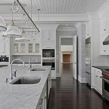 White Carrera marble Countertops, Transitional, kitchen, Michael Davis Design