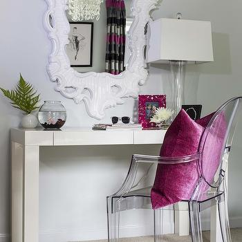 B Metro - girl's rooms - parsons desk, white parsons desk, rococo mirror, white rococo mirror, ghost chair, pink linen pillow, girls desk, West Elm Parsons Desk with Drawers, Ghost Chair,