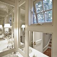 Pritchett and Dixon - bathrooms - powder room, powder room ideas, paneled powder room, light taupe paneled powder room, taupe paneled powder room, powder room sink, round sink, offset faucet, off set faucet, offset bathroom faucet, off set bathroom faucet,