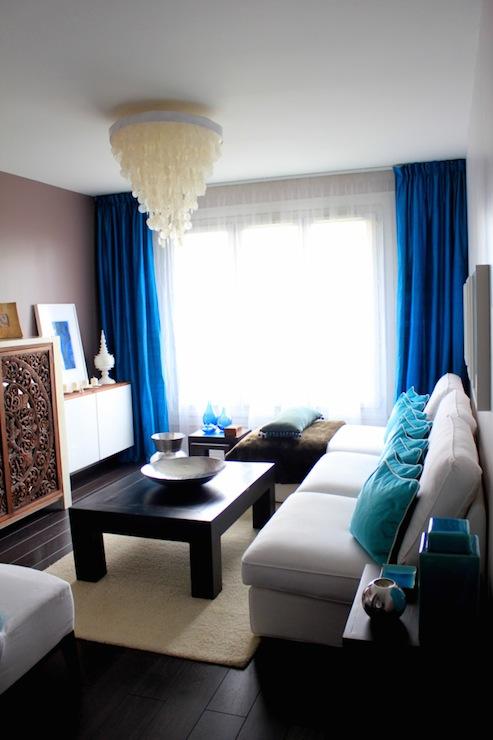 Cobalt blue curtains contemporary living room for Cobalt blue living room