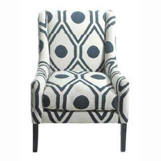 Seating - Contemporary Trellis Cotton Blue Accent Arm Chair | Overstock.com - blue and white geometric armchair, blue and white patterned armchair, modern blue and white armchair,