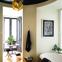 Vanity Stool  Bathroom on Stool  Round Bathroom  Circular Bathroom  Black Ceiling  Glossy Black