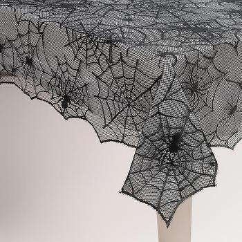 Miscellaneous - Spider Web Tablecloth | World Market - spider web tablecloth, black spider web tablecloth, halloween table cloth,