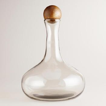 Decor/Accessories - Large Glass Decanter with Wood Stopper | World Market - glass decanter, decanter, glass decanter with wood stopper, glass decanter with round wood stopper,