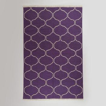 Rugs - 5' x 8' Purple Ivory Lattice Flat-Woven Wool Rug | World Market - purple and ivory geometric rug, purple and ivory lattice rug, purple lattice rug,