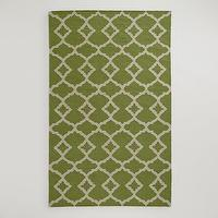 Rugs - Green Ivory Lattice Flat-Woven Wool Rug | World Market - green and ivory lattice rug, green and ivory geometric rug, green lattice rug,