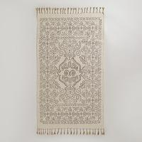 Rugs - 3' x 5' Gray Sketch Design Dhurrie | World Market - gray and ivory dhurrie rug, gray and ivory screen printed rug, gray and ivory sketch dhurrie rug,