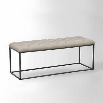 Seating - Tufted Bench - Flax | west elm - tufted bench, iron based tufted bench, modern iron bench with tufted seat,