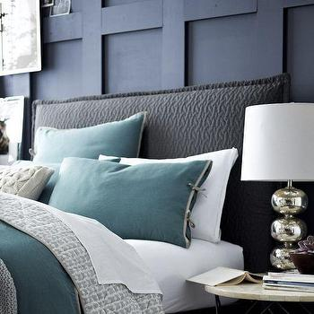 Beds/Headboards - Matelasse Slipcover Headboard - Slate | west elm - gray slipcovered headboard, matelasse slipcovered headboard, gray matelasse slipcovered headboard,