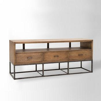 Storage Furniture - Copenhagen Media Console | west elm - pine media console, industrial style media console, iron based wooden media console,