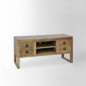 Storage Furniture - Hewn Wood Media Console | west elm - rustic mango wood media console, mango wood media console, hewn wood media console,