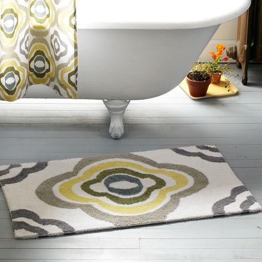 Large Grey Bathroom Rug: Floral Ikat Bath Mat