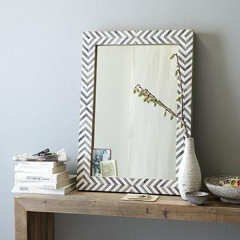 Mirrors - Parsons Wall Mirror - Gray Herringbone | west elm - inlaid bone wall mirror, bone inlay chevron mirror, herringbone bone inlay mirror,