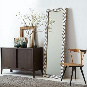 Mirrors - Parsons Floor Mirror - Gray Herringbone | west elm - bone inlaid floor mirror, herringbone bone inlay floor mirror, chevron bone inlay floor mirror,