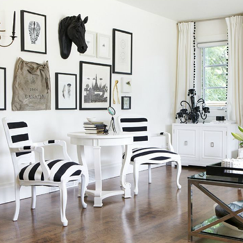Rue Magazine - living rooms - eclectic art gallery, black and white chairs, striped chairs, black and white striped chairs, lucite bar cart, vintage lucite bar cart, white accent table, round accent table, gold wishbone,