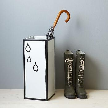 Decor/Accessories - Umbrella Stand - Raindrops | west elm - black and white umbrella stand, umbrella stand, raindrop umbrella stand,