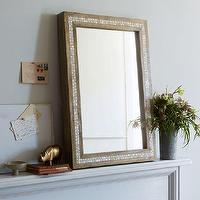 Mirrors - Parsons Wall Mirror - Mother of Pearl | west elm - mother of pearl inlaid mirror, wooden wall with mother of pearl border, mother of pearl inlay mirror,