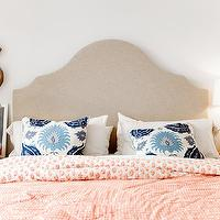 Pencil and Paper - bedrooms - pagoda lamp, pagoda table lamp, white pagoda lamp, tan headboard, white and orange duvet, white and orange bedding, ikat pillows, white and blue ikat pillow, orange nightstands, orange lacquer nightstand, orange lacquered nightstand, lacquered nightstand,