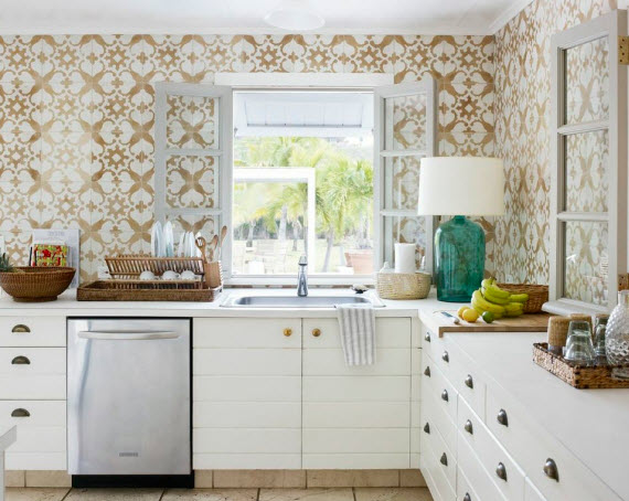 Spanish tiles transitional kitchen tom scheerer for Spanish style kitchen backsplash