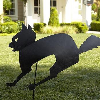 Miscellaneous - Cat Ground Stake | Pottery Barn - spooky cat outdoor stake, black cat outdoor stake, cat silhouette stake,
