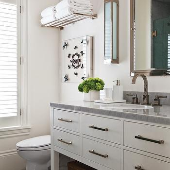 House & Home - bathrooms - butterfly art, train rack, train rack over toilet, pierce sconce, restoration hardware sconce, bath sconce, bathroom sconces, restoration hardware medicine cabinets, restoration hardware washstand, extra wide single washstand,