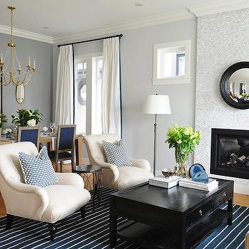 Ivory and Blue Living Room, Transitional, living room, Kerrisdale Design