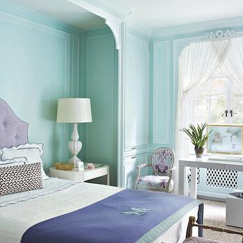 Tom Scheerer - living rooms - tiffany blue, tiffany blue room, tiffany blue bedroom, tiffany blue trim, tiffany blue trim molding, tiffany blue walls, bed alcove, bedroom alcove, purple headboard, purple linen headboard, purple tufted headboard, scalloped bedding, scalloped shams, scalloped duvet, white and purple bedding, monogrammed blanket, blue and green blanket, purple bed, parsons desk, french chair, round back chair, bengal bazaar fabric, bengal bazaar magenta,