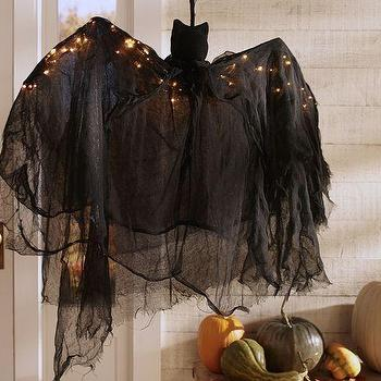 Miscellaneous - Lit Burlap Bat | Pottery Barn - large hanging bat, outdoor bat halloween decor, large black halloween bat,