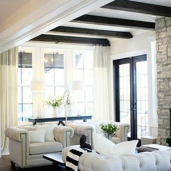 Black and White Striped Throw, Transitional, living room, Jillian Harris