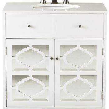 Bath - Reflections Single Vanity | HomeDecorators.com - mirror fronted vanity, white mirrored sink vanity, white mirror paneled sink vanity,