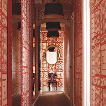 Tom Scheerer - entrances/foyers - trellis wallpaper, lyford wallpaper, trellis wallpaper, red trellis wallpaper, white and red trellis wallpaper, bamboo mirrors, red bamboo mirrors, drum pendants, black drum pendants, white and red foyer, red and black foyer, quadrille wallpaper, lyford trellis wallpaper, trellis background wallpaper, lyford trellis background wallpaper, Quadrille Lyford Trellis Background Wallpaper,