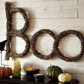 Miscellaneous - Lit Twig Boo Sign | Pottery Barn - halloween lit sign, halloween boo sign, boo lit halloween sign,