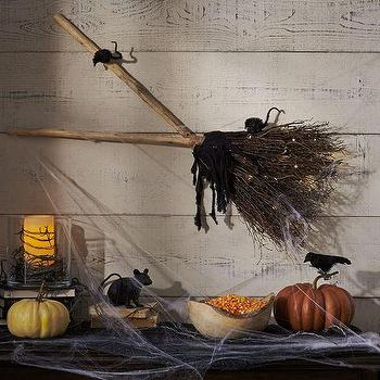Miscellaneous - Lit Twig Broom | Pottery Barn - witches broom wall decor, witches broom wall art, halloween witches broom decor,