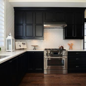 Jillian Harris - kitchens - white and black kitchen, black perimeter cabinets, black cabinets, black kitchen cabinets, black kitchen cabinets with white countertops, black cabinets with white countertops, subway tiles, subway tile backsplash,