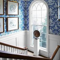 Tom Scheerer - entrances/foyers - david hicks wallpaper, hicks the vase wallpaper, blue the vase wallpaper, wainscoting, staircase wainscoting, picture lights, brass picture lights, staircase art, arched window, The Vase Wallpaper,