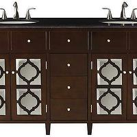 Bath - Reflections Double Vanity | HomeDecorators.com - mirror fronted double vanity, espresso mirror fronted dual vanity, mirror paneled espresso dual vanity,