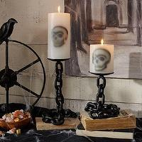 Miscellaneous - Chain Link Pillar Candle Holders | Pottery Barn - black chain link pillar candle holder, chain link candle holder, black chain link candle holder, halloween candle holder,
