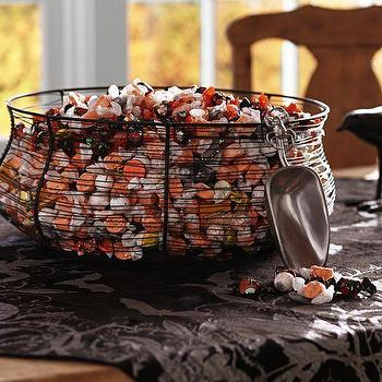 Miscellaneous - Wire Spiderweb Candy Bowl with Scoop | Pottery Barn - halloween candy scoop, spiderweb candy bowl, spider web halloween bowl with scoop,