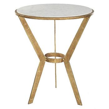 Tables - Grecian Gilt Accent Table | Wisteria - brass accent table with marble top, brass side table with marble top, round brass accent table with marble top,