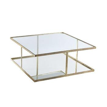 Tables - Grecian Gilt Coffee Table | Wisteria - aged brass coffee table with mirrored shelf, square aged brass coffee table, aged brass coffee table with mirrored and glass shelves,
