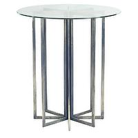 Tables - Eight Point Side Table | Wisteria - round glass topped side table, silver octagonal based glass top side table, round glass topped side table with octagonal shaped silver legs,