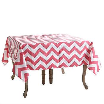 Decor/Accessories - Chevron Tablecloth | Wisteria - pink and white chevron tablecloth, pink and white chevron table cloth, pink chevron tablecloth,