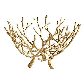 Decor/Accessories - Gilt Branches Sculpture | Wisteria - gold faux bois bowl, gilded faux bois bowl, gold branch bowl,