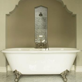 Martha O'Hara Interiors - bathrooms: marble tiled floors, marble floor tile, marble tiled bathroom floors, clawfoot tub, claw foot tub, claw foot bath, silver claw foot tub, bathroom niche, bathroom arch, moroccan arch, moroccan niche, moorish arch, moorish niche, recessed mosaic tiled panel, mosaic tiled shower head panel, floor mounted faucet, floor mount faucet, moroccan bathroom, moroccan style bathroom, bathtub nook, bath alcove, bathtub alcove, tub in alcove, bathtub in alcove,