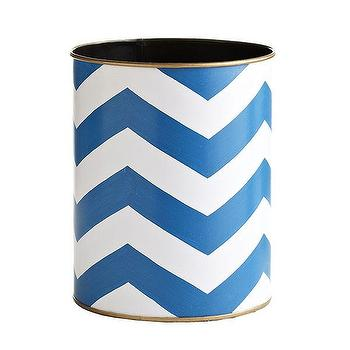 Decor/Accessories - Blue Chevron Wastebasket | Wisteria - blue chevron wastebasket, blue and white chevron wastebasket, chevron wastebasket,