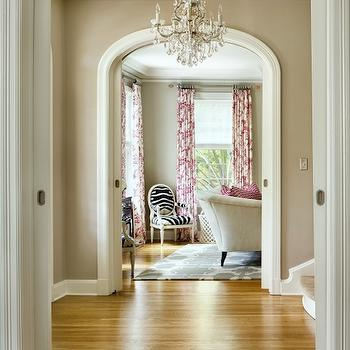 Arched Doorway Moldings, Contemporary, entrance/foyer, Benjamin Moore Revere Pewter, Martha O'Hara Interiors