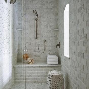 Beveled Marble Subway Tiles, Transitional, bathroom, Martha O'Hara Interiors