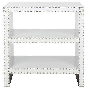 Tables - Safavieh Lacey White Side Table | Overstock.com - white croc side table with nailhead trim, modern white side table with nailhead trim, white faux croc side table,